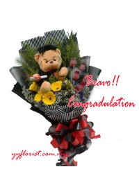 Graduation Bear & Flower Bouquet