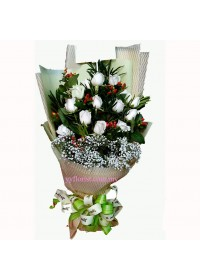 White Angle Rose Bouquet 12