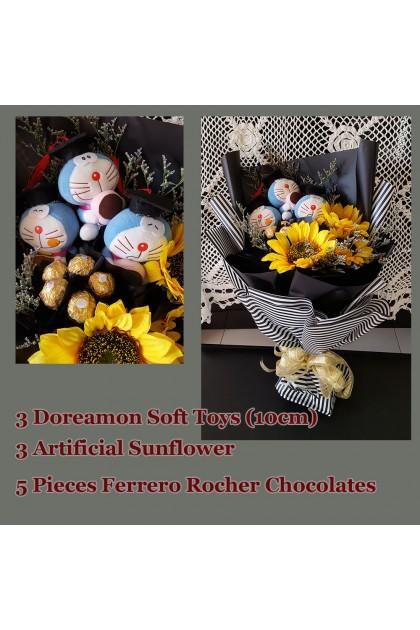 Artificial Sunflower & Doreamon Graduation Bouquet