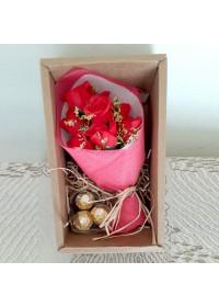 3pc Ferraro Rocher Chocolate & Mini soap Rose Bouquet