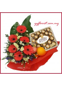 24 piece Ferrero Rocher & Flowers Fruit Basket 03