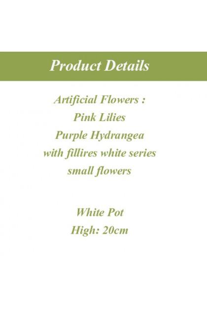 Artificial Lilies & Hydrangea Table Arrangement