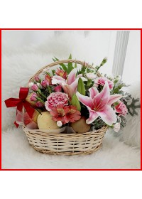 Premium Mix Flowers Fruit Basket