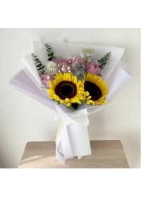 Korea Style Bouquet - Sunflower & Roses