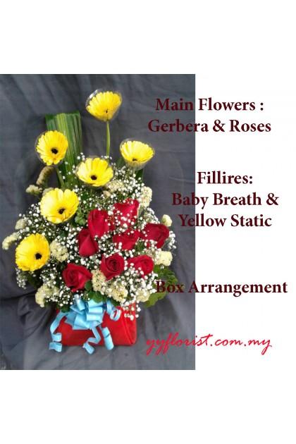 Mix Flower Gift Box ( Gerbera & Roses)