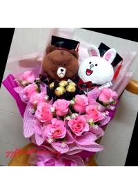 Double Toy Graduation Bouquet - Brown & Connie (Line Friend Series)