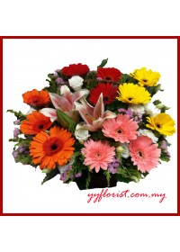 Mix Flowers Basket 01