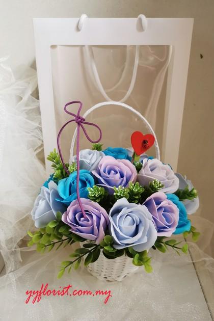 Love Soap Roses Small Basket Arrangement