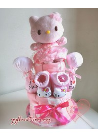New Born Diapers Candy Cake Hamper - Kitty