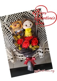 Valentine's Limited: Soap Rose & Toy Bouquet - Beauty & Beast