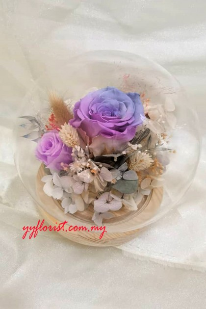 Crystal Blue Preserved Roses Bell Jar