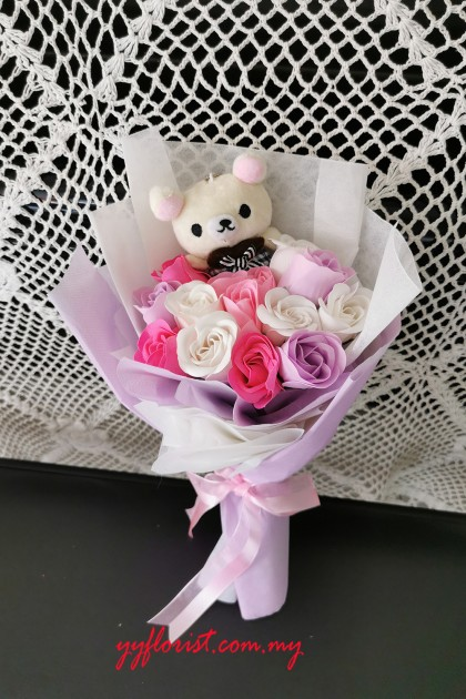 Romantic Soap Rose Bouquet - Rilakkuma