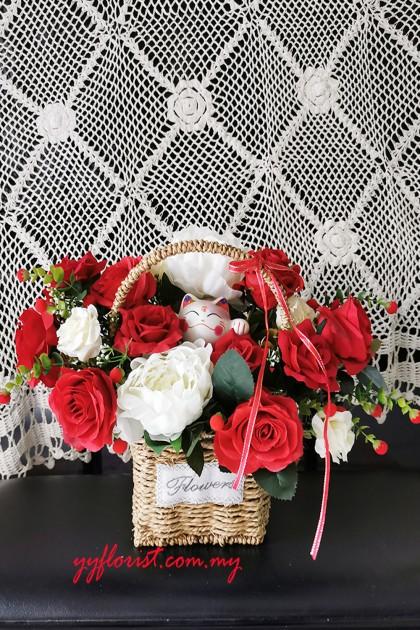 Artificial Rose & Peony  Flower Basket - Lucky Cat