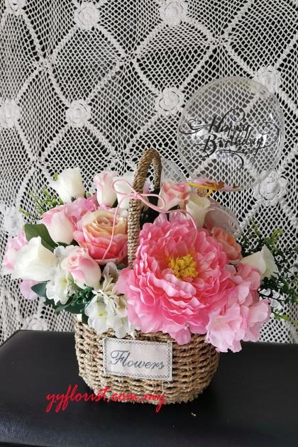Artificial Mix Flower Basket - Pink