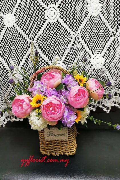Artificial Peony mix  Flower Basket - Pink